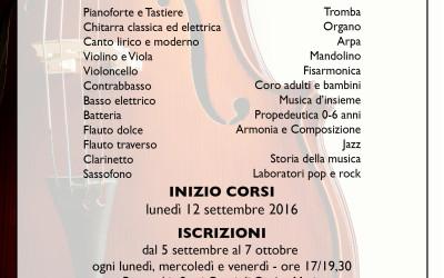 IL 5 SETTEMBRE RIAPRONO LE ISCRIZIONI ALLA SCUOLA DI MUSICA EUFONIA