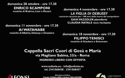 Rassegna Pianistica Eufonia – Edizione 2018- Tutte le domeniche dal 28 Ottobre al 18 Novembre